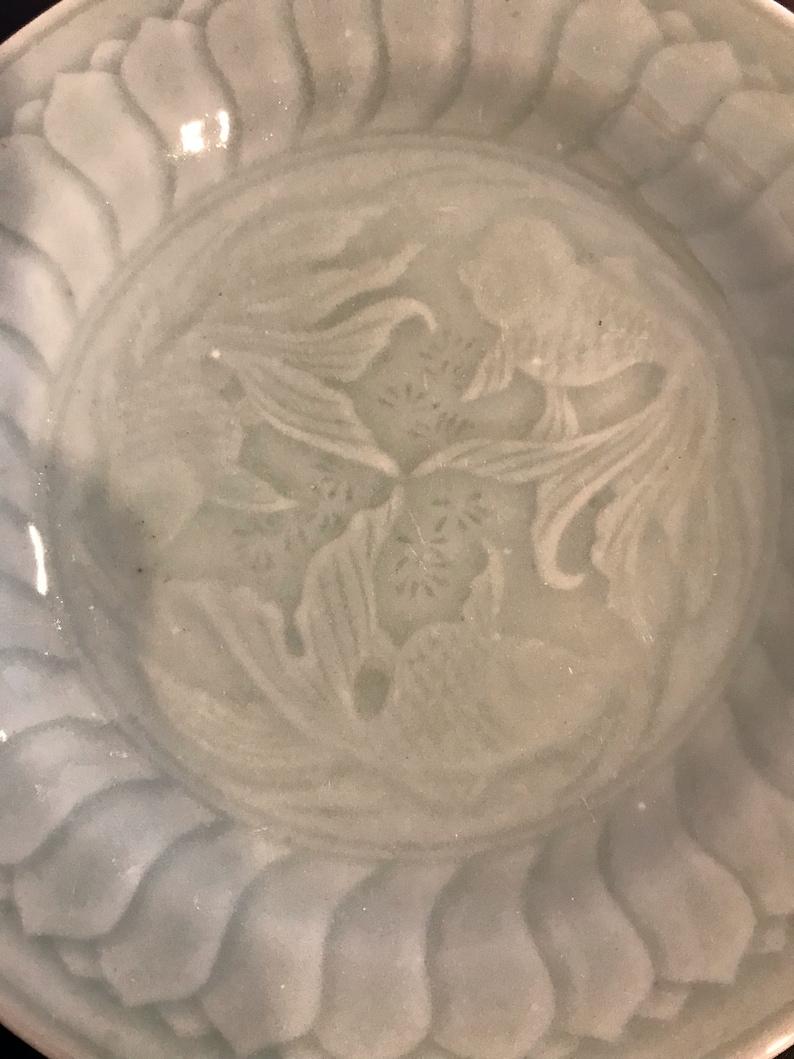 3 Longquan Celadon Goldfish Salad Plates  8 14/'/'