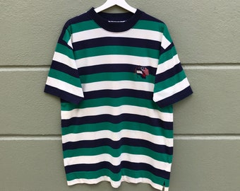 d3dc9917b Vintage 90s Tommy Hilfiger Embroidery Logo With Nice Colour Stripes T-shirt