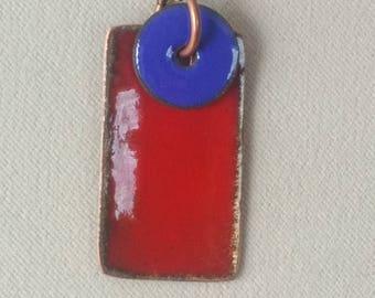 deep red enamel pendant
