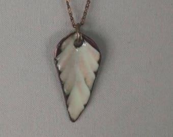 cream enamel leaf pendant