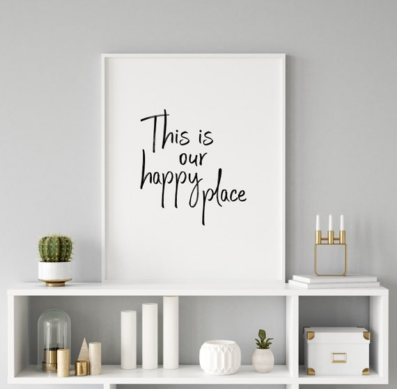 Set of 2 Quotes This Is Our Happy Place Print Living Room Printable Wall Art Our Happy Place Set of 2 Prints Wall Art Living Room Quote