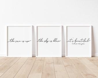 Dear Prudence Song Lyrics, Nursery Quote Prints, Set of 3, Nursery Wall Art, Bedroom Printables, Above the Crib Art, Beatles Music Print
