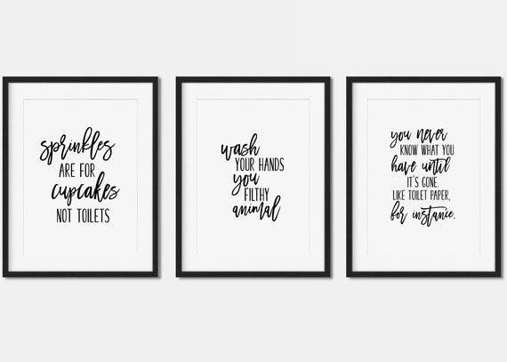 Funny Bathroom Set Of Three Printables Funny Quotes Bathroom Wall Decor 5x7 8x10 And 12x12