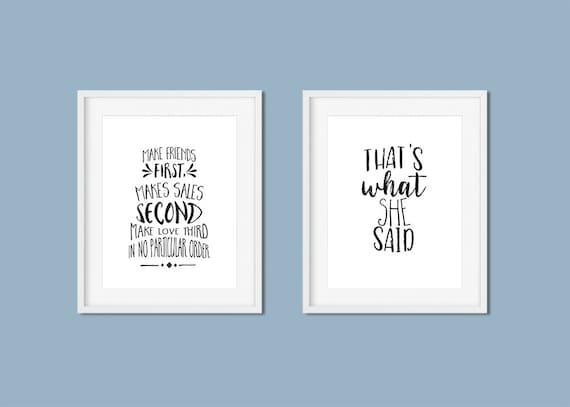 The Office TV Show Quotes Prints Set of 8, Michael Scott Funny Quotes  printable bundle, 5x7 & 8x10