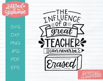 The influence of a great teacher can never be erased, SVG Cut File, school svg, teacher svg, teacher gift svg, end of school svg,