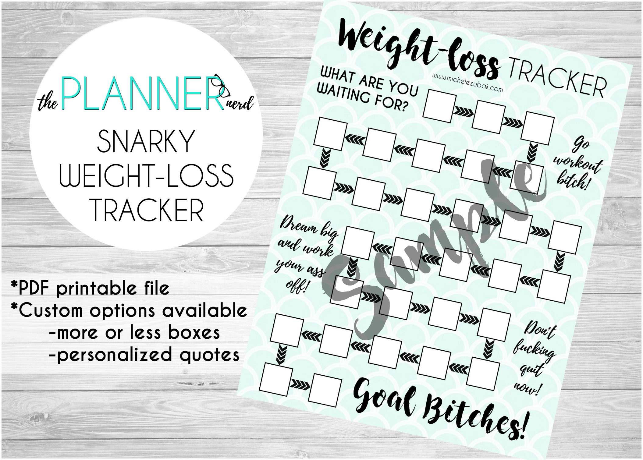 Snarky Adult Weight Loss Goal Habit Tracker PDF