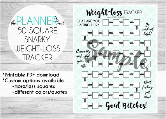 50 Square Snarky Adult Weight Loss Goal Habit Tracker