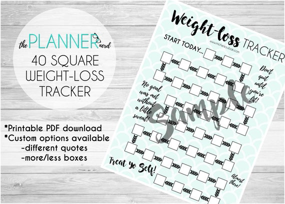 40 Square Weight Loss Goal Habit Tracker PDF Download
