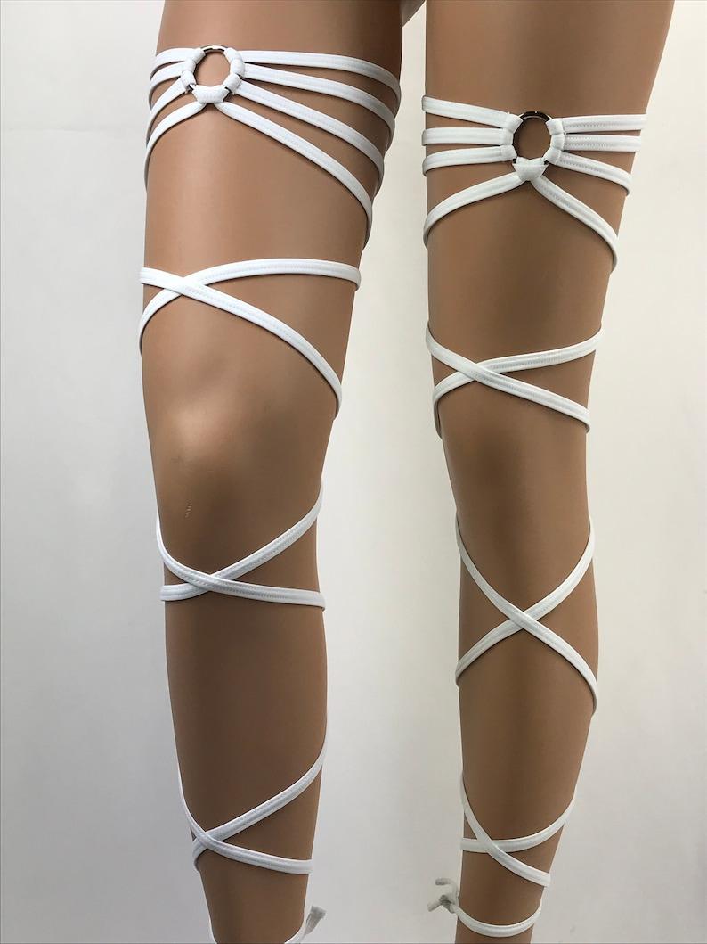 feb201cf2ec Exotic Dancewear Leg Wraps White Garter Gartini Rave Outfits