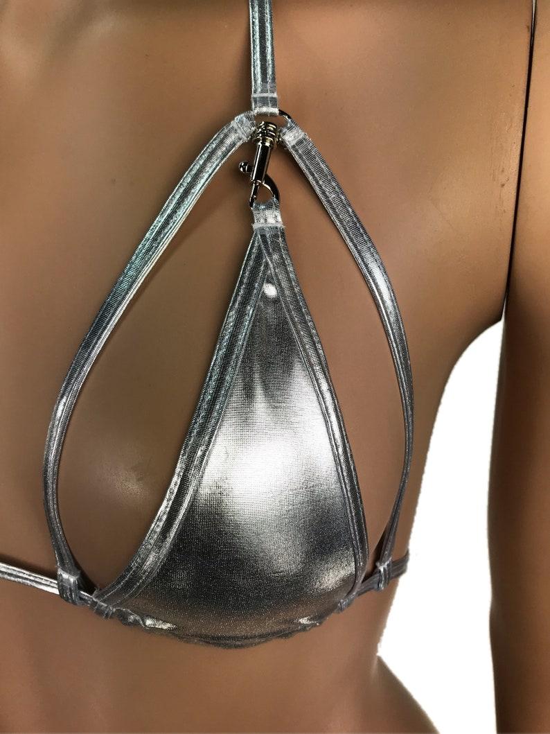 Exotic Dancewear Silver Triangle Bikini Top Rave Outfits Skimpy Strappy String Adjustable Swimwear Cage Bikini Top Bra With Connector