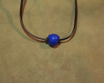 Blue recycled African glass necklace