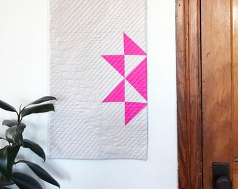 Modern Quilt Wall Hanging with Hand Quilted Detail - Gray and Hot Pink