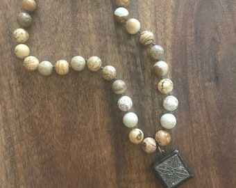Jasper Stone Hand Knotted Necklace with Soldered Pendant