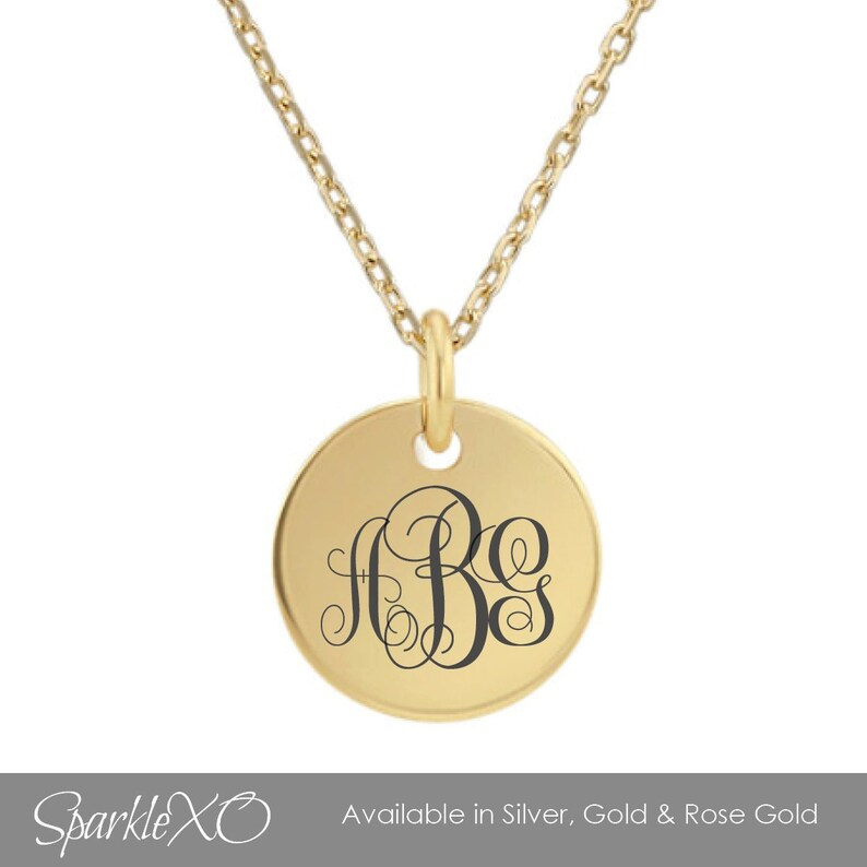 Personalized Necklace Monogram Necklace Valentines Day Gifts Initial Necklace Round Pendant Name Necklace Coin Necklace Letter Necklace