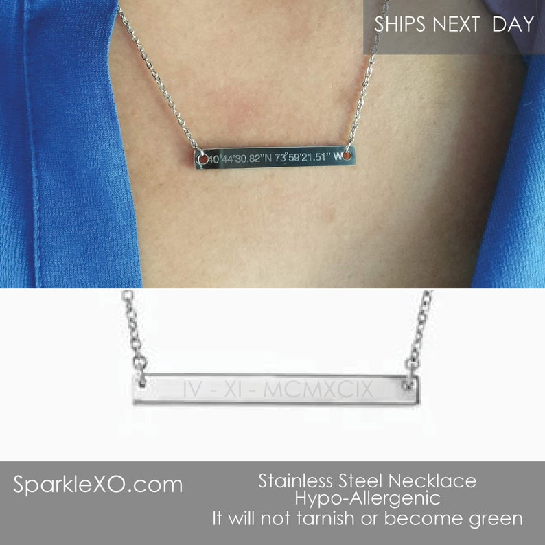 Skinny Bar Necklace Dainty Necklace Personalized Name Necklace Engraved Bar Necklace For Women Gift for her Initial Necklace Gift for Women