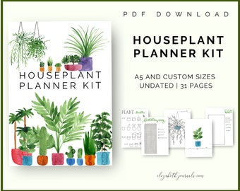Houseplant Planner Kit | Bullet Journal Printables | Mood Tracker, Hello, Pixels, Plant Care | A5 Size | PDF Download | Hand-Drawn