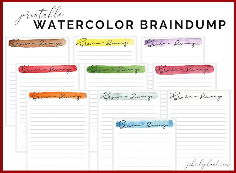 photo regarding Brain Dump Printable named Hand-Drawn Minimum Watercolor \