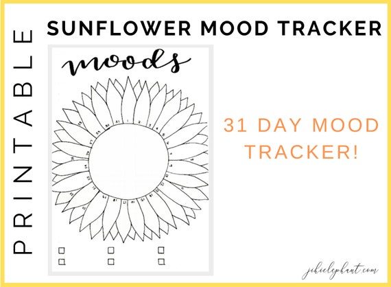 graphic relating to Mood Tracker Bullet Journal Printable identify Sunflower Temper Tracker Bullet Magazine Printable