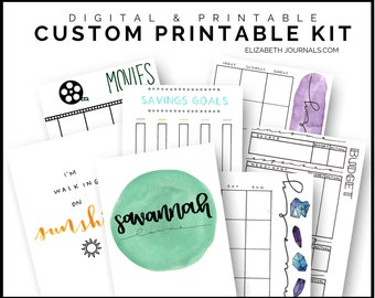 Customized Printable Bullet Journal Kit | A5, A6, half letter, letter, or A4 size | Downloadable & Printable | Completely Customized