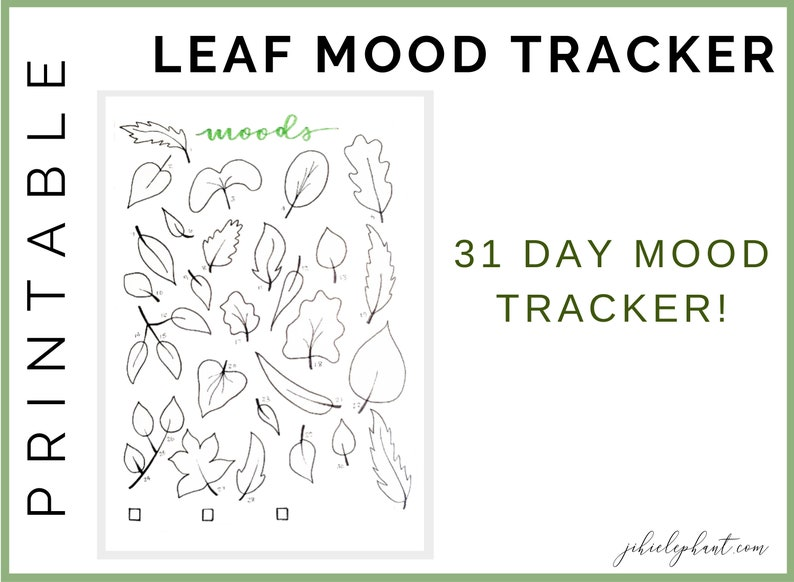 image about Mood Tracker Bullet Journal Printable referred to as Autumn Leaf Temper Tracker Bullet Magazine Printable Downloadable Planner