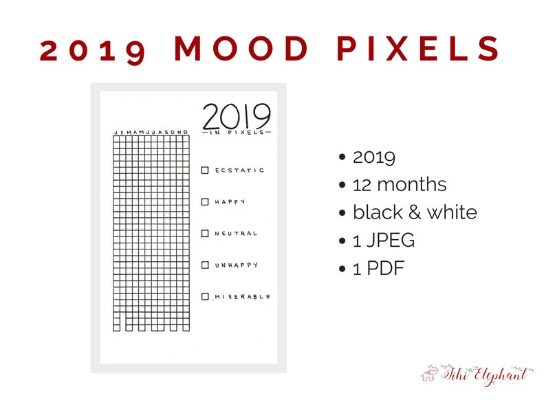 image regarding Year in Pixels Printable referred to as Printable Hand-Drawn 2019 12 months inside Pixels Temper Tracker Fifty percent Letter Dimension, A5 Bullet Magazine