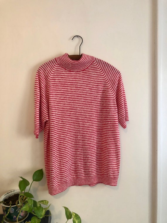 Vintage 1960s Red & White Striped Mock Neck Men's