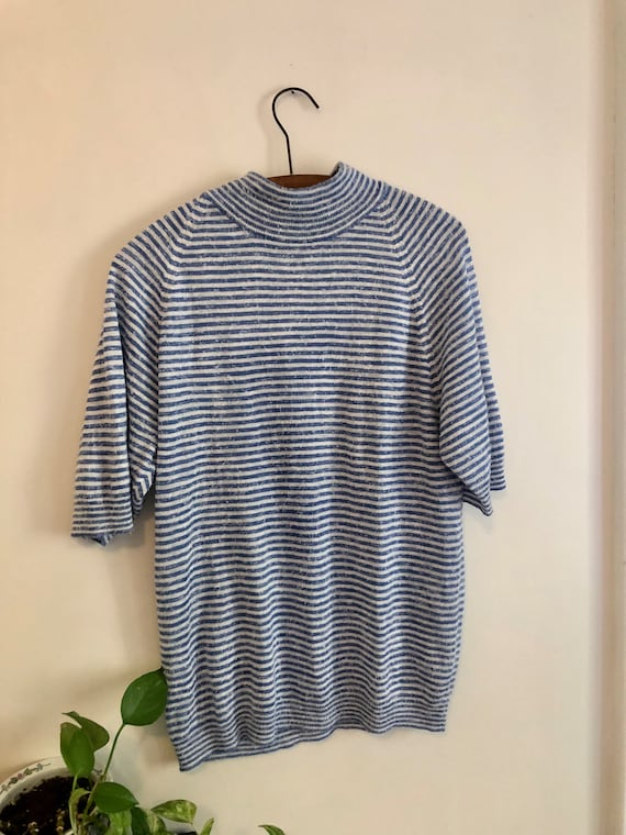 Vintage 1960s Blue & White Striped Mock Neck Men's