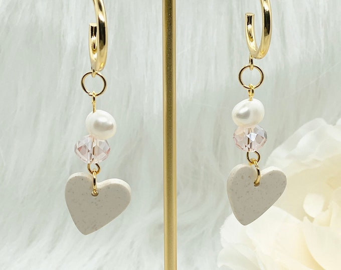 Featured listing image: Heart of the Ocean Hoops w/Freshwater Pearls | Handcrafted Dainty Earrings | Polymer Clay Jewelry | Hypoallergenic | Lightweight |ModernChic