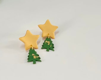 Star and Tree Dangles | Handcrafted Statement Earrings | Lightweight | Polymer Clay Jewelry | Hypoallergenic | Holiday / Christmas