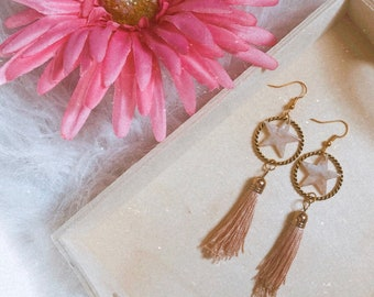 Star and Tassel Dangles | Handcrafted | Statement Earrings | Dainty and Lightweight | Fun | Gold and Blush