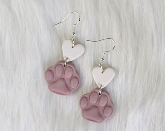 Maverick Paw Heart Dangles | Shop for a Cause | Handcrafted Earrings | Lightweight | Polymer Clay Jewelry | Hypoallergenic |