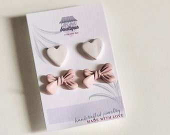 Heart & Cala Bow Stud Pack | Handcrafted Statement Earrings | Lightweight | Polymer Clay Jewelry | Hypoallergenic | Modern Chic