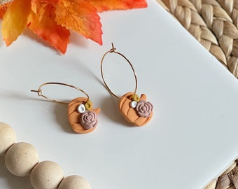Mini Pumpkin Hoops | MADE TO ORDER | Handcrafted Statement Earrings | Lightweight | Polymer Clay Jewelry | Hypoallergenic | Fall