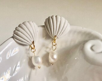 Pearl Dangles in Abalone | Handcrafted Minimalist Earrings | Lightweight | Polymer Clay Jewelry | Hypoallergenic | Coastal