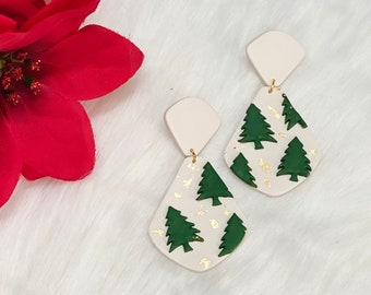 Stanford Tree Dangles | Handcrafted Statement Earrings | Lightweight | Polymer Clay Jewelry | Hypoallergenic | Holiday / Christmas