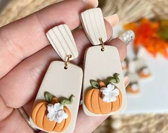 Pumpkin Spice Latte Dangles | Handcrafted Statement Earrings | Lightweight | Polymer Clay Jewelry | Hypoallergenic | Modern Boho Chic | Fall