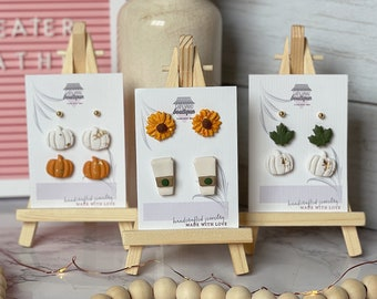 Fall Stud Packs | Handcrafted Stud Earrings | Lightweight | Polymer Clay Jewelry | Hypoallergenic | Modern & Boho Chic