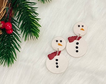 Frosty the Stud | Handcrafted Statement Earrings | Lightweight | Polymer Clay Jewelry | Hypoallergenic | Holiday / Christmas | Snowman
