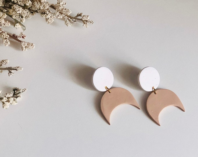 Featured listing image: Celestial Studs in Latte | Handcrafted Minimalist Earrings | Lightweight | Polymer Clay Jewelry | Hypoallergenic | Modern Chic | Fall | Moon