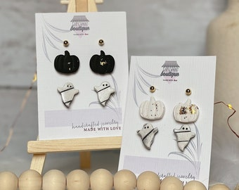 Fall/Halloween Combo Stud Pack | Handcrafted Statement Earrings | Lightweight | Polymer Clay Jewelry | Hypoallergenic | Modern & Boho Chic