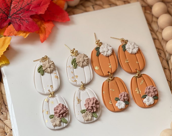 Featured listing image: Cinderella Pumpkin Dangles | Handcrafted Statement Earrings | Lightweight | Polymer Clay Jewelry |Hypoallergenic | Modern & Boho Chic | Fall
