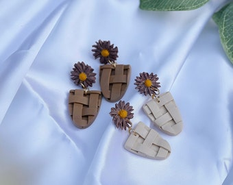 Daisy Baskets | Handcrafted Earrings | Polymer Clay Jewelry | Hypoallergenic | Lightweight | Modern & Boho Chic