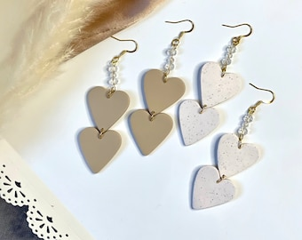 Double Heart Dangles | Handcrafted Statement Earrings | Lightweight | Polymer Clay Jewelry | Hypoallergenic | Modern Chic