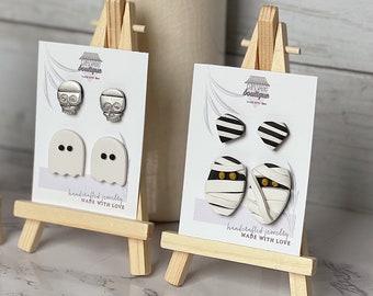 Halloween Stud Packs | Handcrafted Stud Earrings | Lightweight | Polymer Clay Jewelry | Hypoallergenic | Modern & Boho Chic