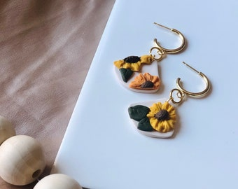 Sunflower Field Hoop Dangles | Handcrafted Statement Earrings | Lightweight | Polymer Clay Jewelry | Hypoallergenic | Modern Chic