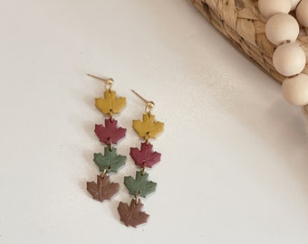 FALLin' Leaves Dangles | Handcrafted Statement Earrings | Lightweight | Polymer Clay Jewelry | Hypoallergenic | Modern & Boho Chic | Fall