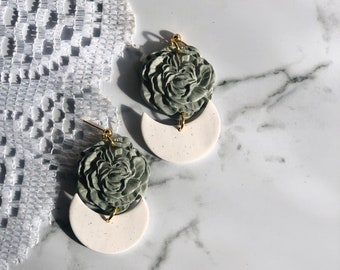 Blair's Peonies | Handcrafted Statement Earrings | Lightweight | Polymer Clay Jewelry | Hypoallergenic | Modern Chic & Bohemian Inspired