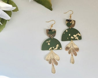 Mini Audrey Leaf Dangles in Camo | Handcrafted Statement Earrings | Lightweight | Polymer Clay Jewelry | Hypoallergenic