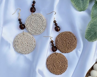 Beaded Rattan Dangles | Handcrafted Earrings | Polymer Clay Jewelry | Hypoallergenic | Lightweight | Modern & Boho Chic