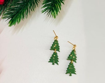Mini Tree Dangles | Handcrafted Statement Earrings | Lightweight | Polymer Clay Jewelry | Hypoallergenic | Holiday / Christmas